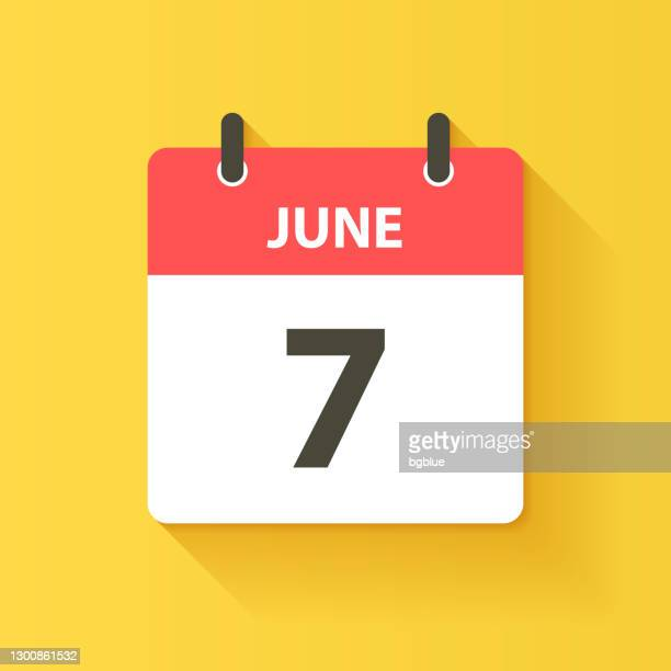 june 7 - daily calendar icon in flat design style - june stock illustrations