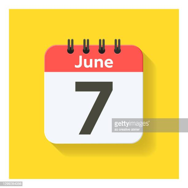 june 7 - daily calendar icon in flat design style. yellow background. - june stock illustrations