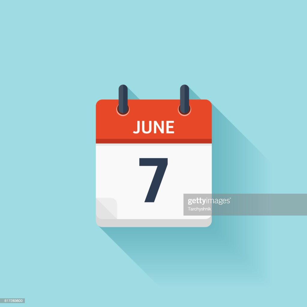 June  7. Vector flat daily calendar icon. Date and time