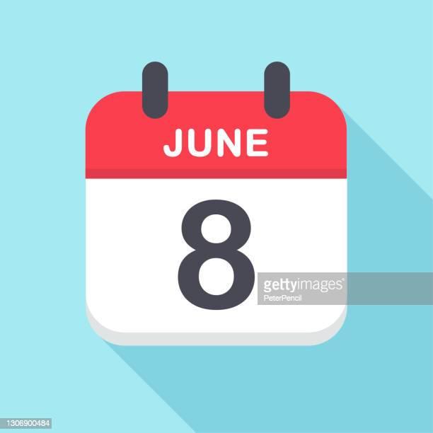 illustrations, cliparts, dessins animés et icônes de 8 juin - icône du calendrier - juin