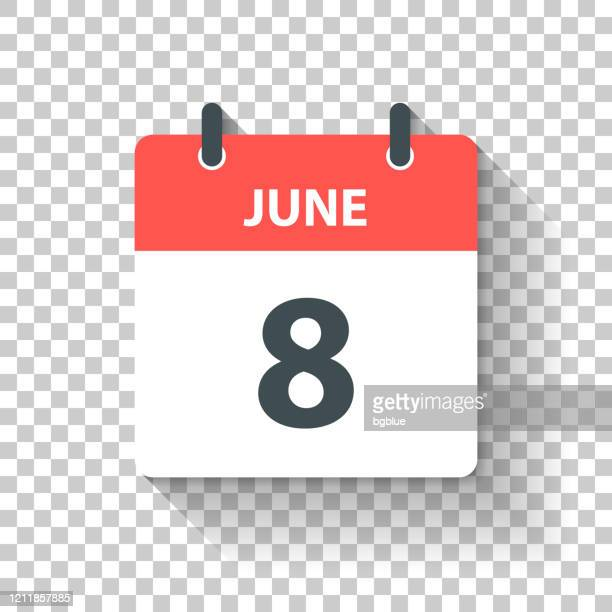 june 8 - daily calendar icon in flat design style - june stock illustrations