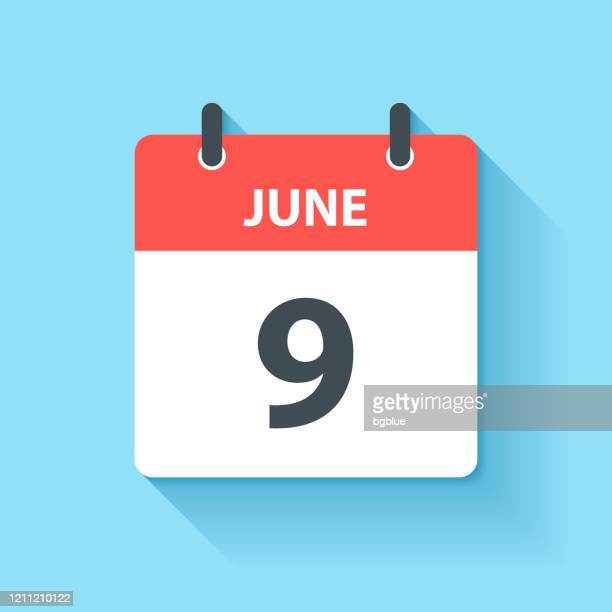 june 9 - daily calendar icon in flat design style - number 9 stock illustrations