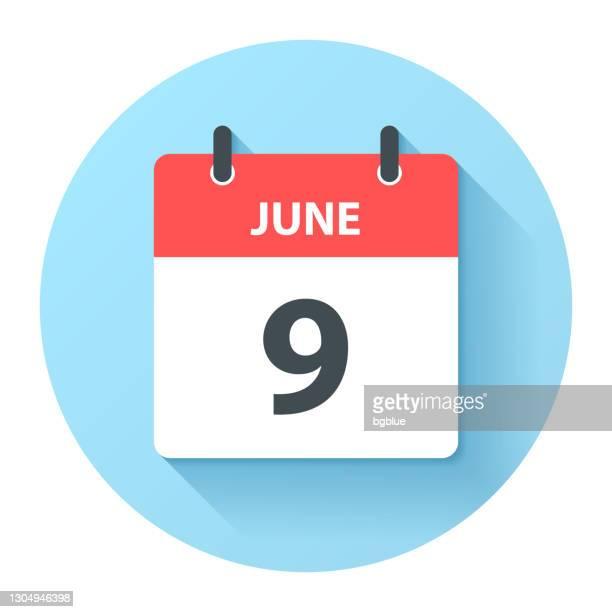 illustrations, cliparts, dessins animés et icônes de 9 juin - icône ronde de calendrier quotidien dans le modèle plat de conception - juin