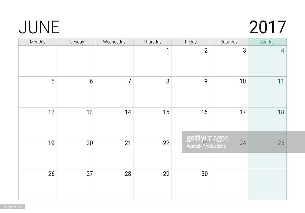 2017 June calendar (or desk planner)
