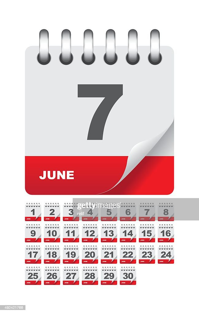 June daily calendar icon set