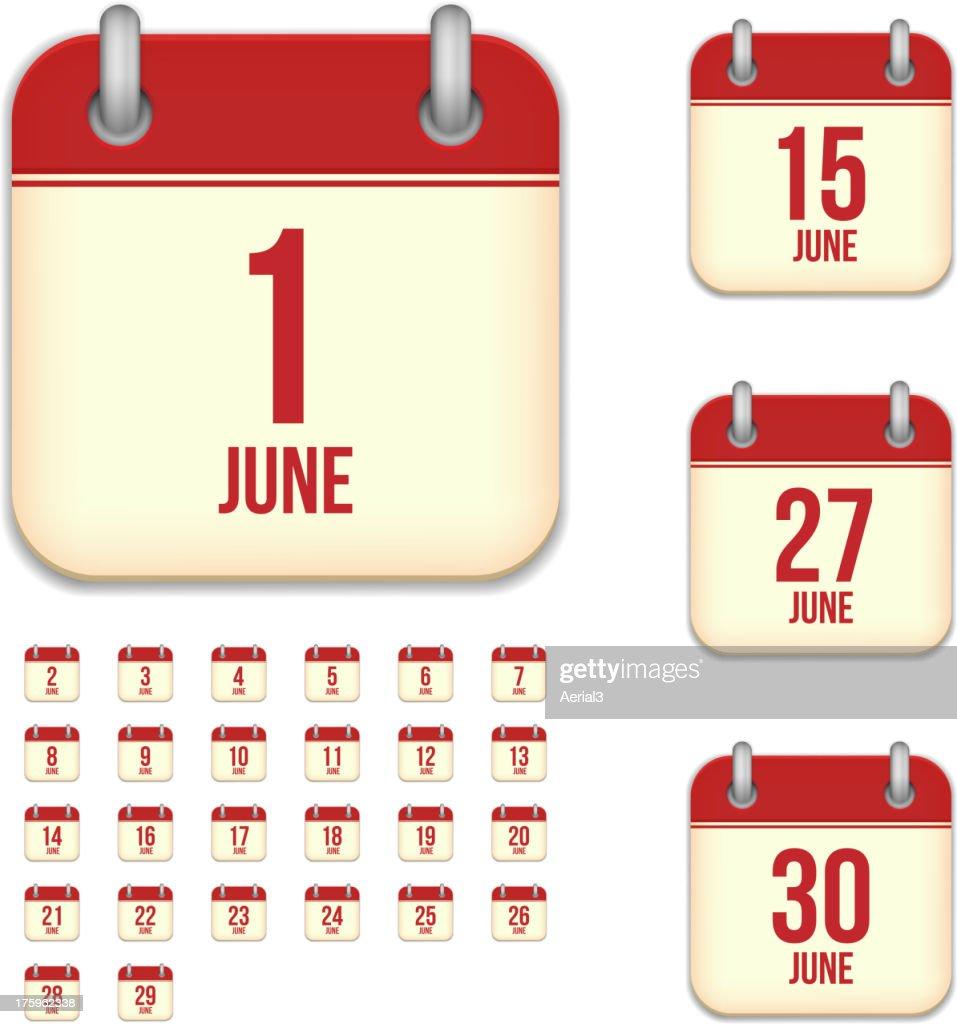 June days. Vector calendar icons