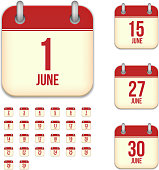 June days. Vector calendar icons