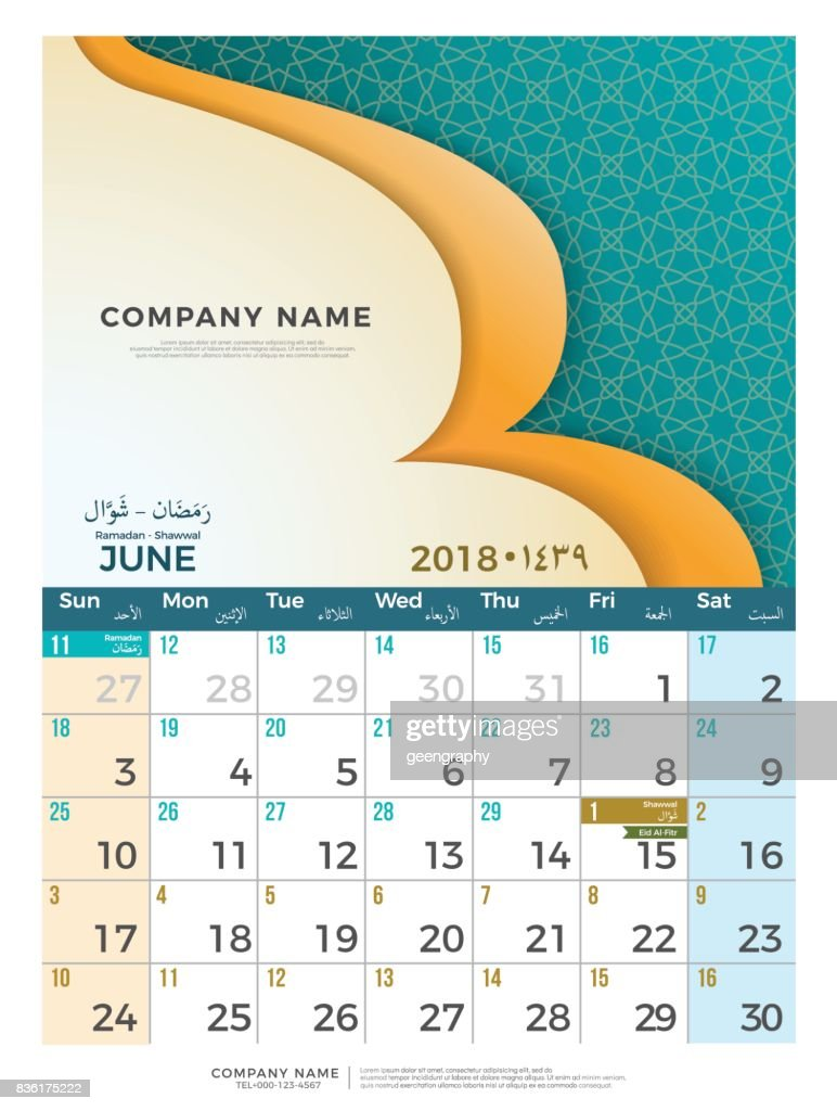 06 June Hijri 1439 to 1440  islamic calendar 2018 design template. Simple minimal elegant desk calendar hijri 1439, 1440 islamic pattern template with colorful graphic on white background