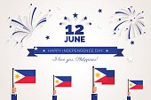 12 June. Philippines Independence Day greeting card.