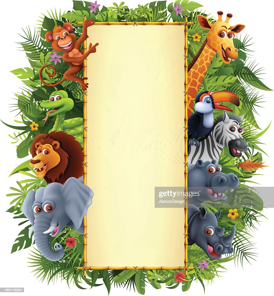 Jungle Animals and Bamboo Sign : stock illustration