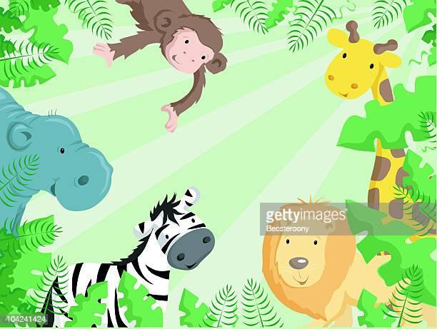 jungle animals border - safari stock illustrations, clip art, cartoons, & icons