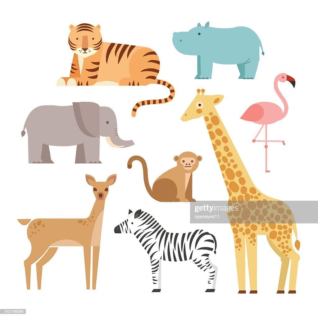 Jungle animals icons set