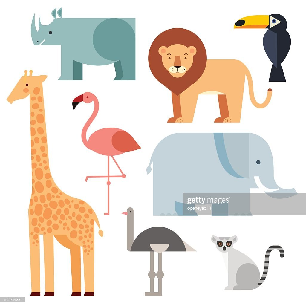 Jungle animals icons set