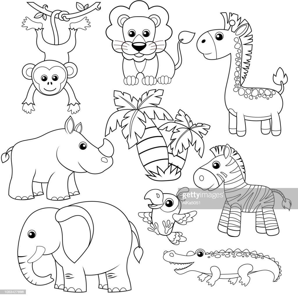 Jungle animals. Lion, elephant, giraffe, monkey, parrot, crocodile, zebra and rhinoceros. Black and white vector illustration for coloring book