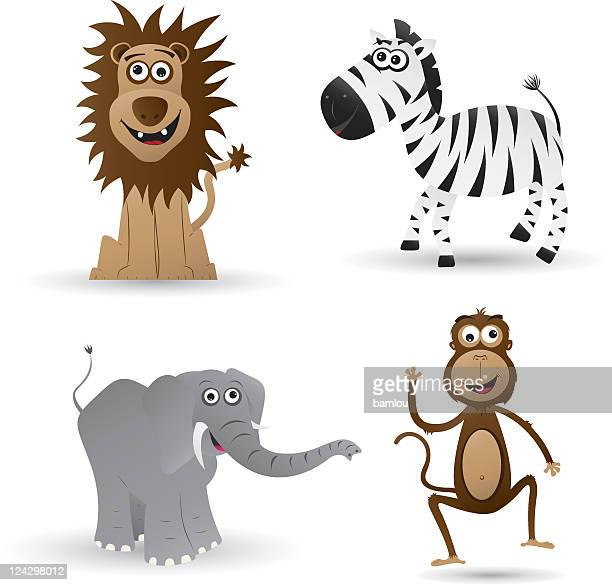 jungle animals - cartoon characters with big noses stock illustrations, clip art, cartoons, & icons