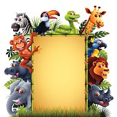 Jungle Animals with Bamboo Banner