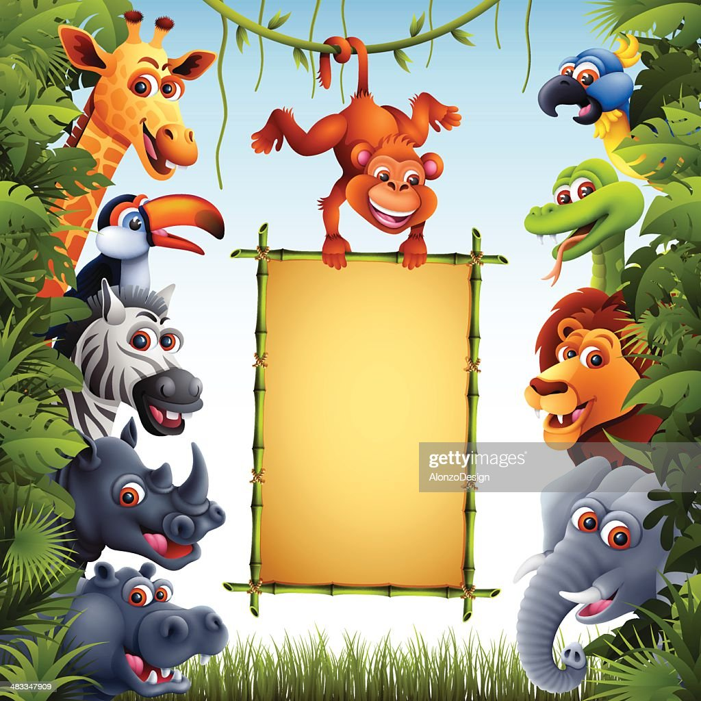 Jungle Animals with Bamboo Sign : stock illustration
