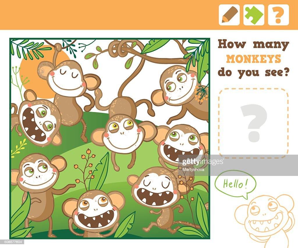 Dschungel. Bildung zählen Spiel für Kinder. : Vektorgrafik