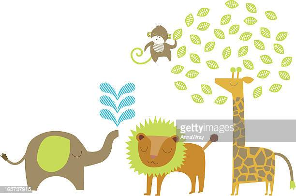 jungle illustration - safari animals stock illustrations