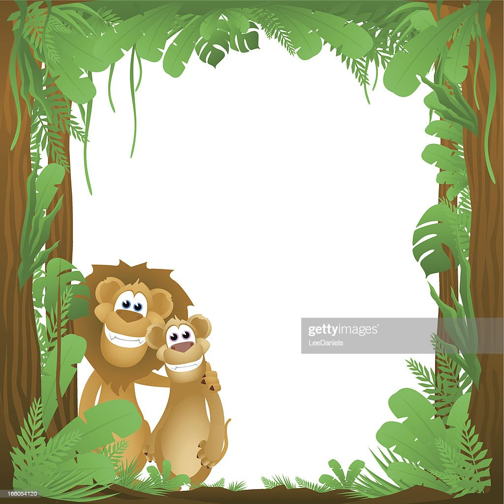 Jungle Lions Frame Background Vector Art | Getty Images