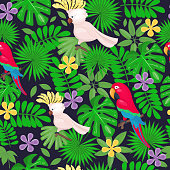 Jungle seamless pattern with tropical leaves and flowers and parrots on the white background. Vector illustration. Cartoon style.