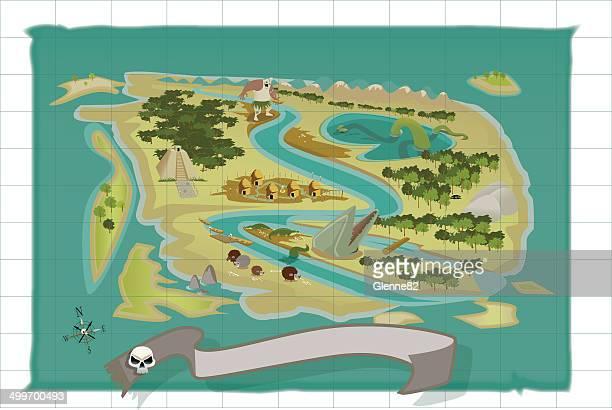 jungle treasure map - kong: skull island stock illustrations
