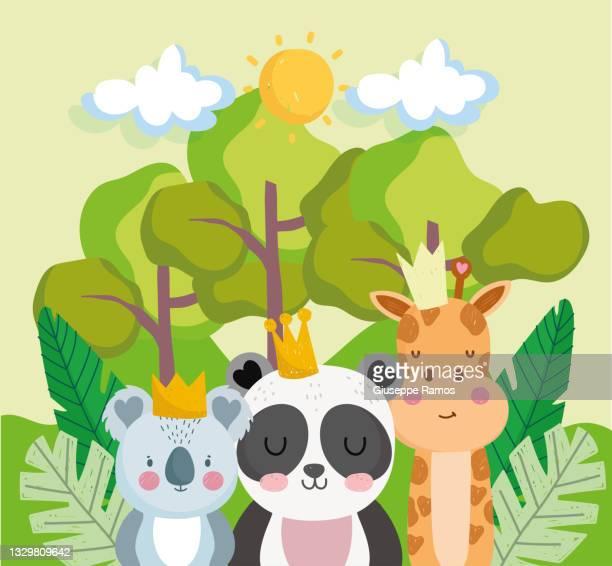 jungle vegetation animals cute cartoon