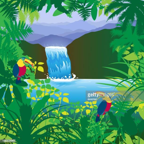 jungle waterfall - waterfall stock illustrations, clip art, cartoons, & icons