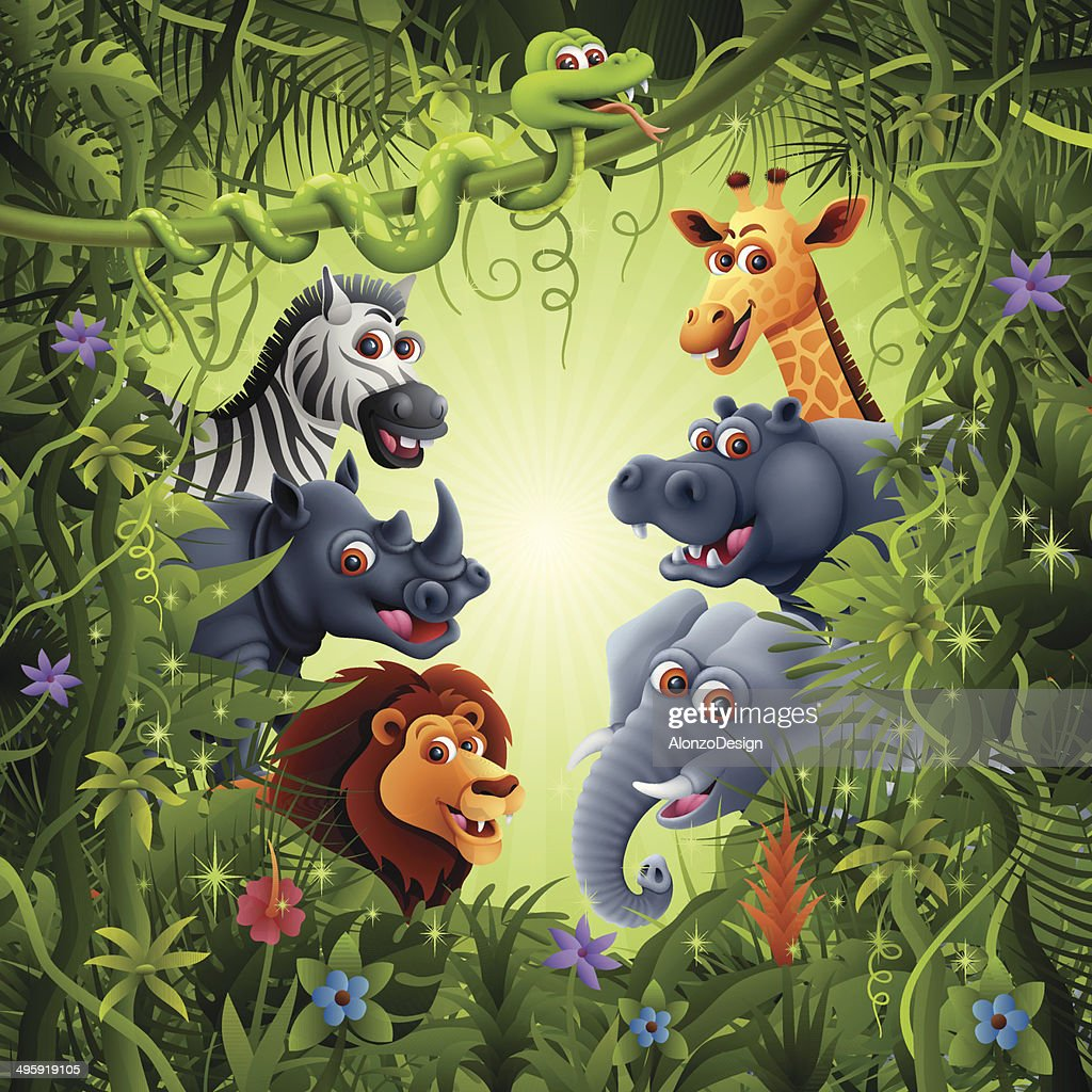 Jungle With Cartoon Animals High Res Vector Graphic Getty Images