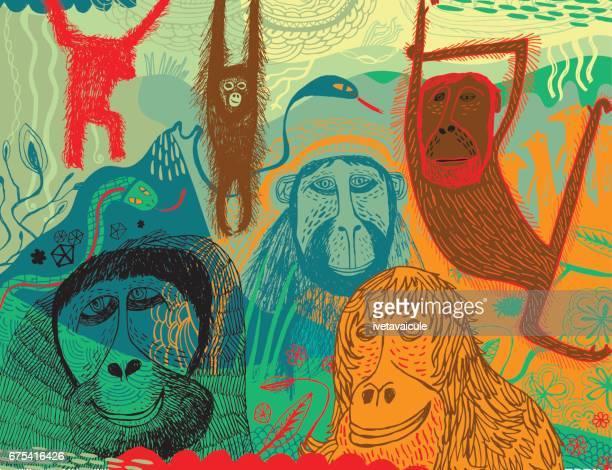 サル、ゴリラ ヘビ ミーアキャットとジャングル