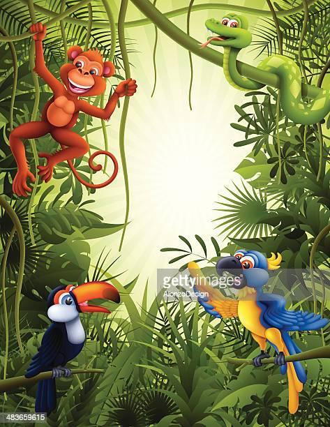 ilustraciones, imágenes clip art, dibujos animados e iconos de stock de jungle con animales salvajes - reptil