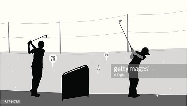 junior golf vector silhouette - driving range stock illustrations