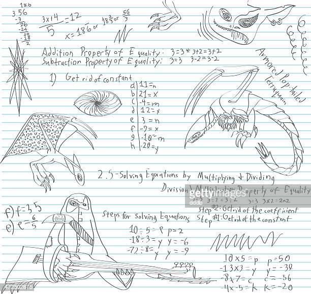 junior high math class doodle - genetic mutation stock illustrations