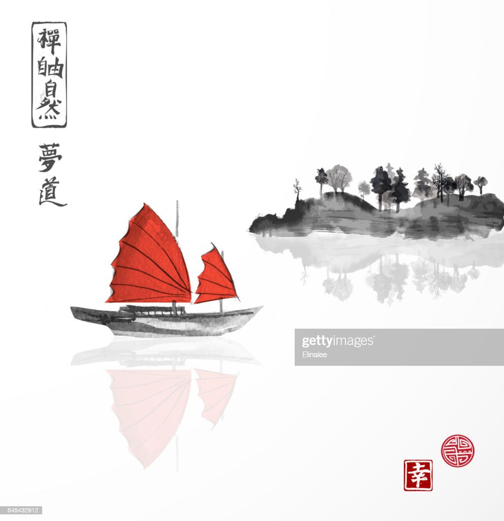Junk boat with red sails and mountains in water