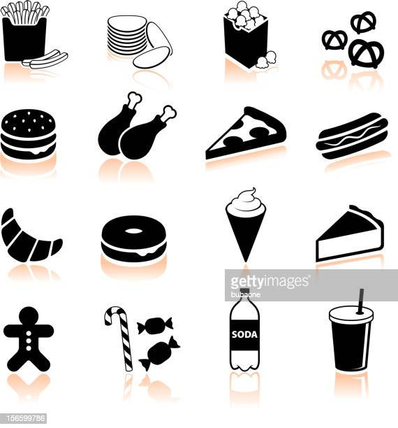 junk food black and white royalty free vector icon set - chicken pie stock illustrations, clip art, cartoons, & icons
