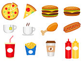 Junk food colorful logo collection isolated on white background poster.