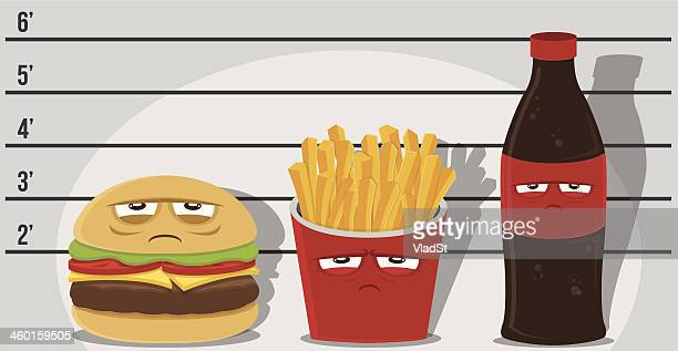 junk food criminals - unhealthy eating stock illustrations