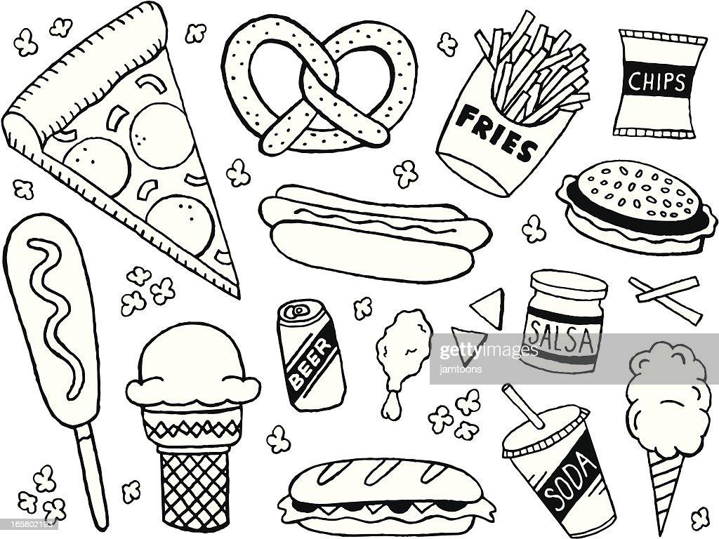 Junk Food Doodles : stock illustration