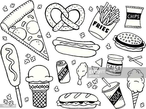 junk food doodles - unhealthy eating stock illustrations
