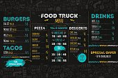Junk Food festival menu template, street restaurant brochure cover. Modern truck flyer with hand-drawn lettering and items. Vector menu board.
