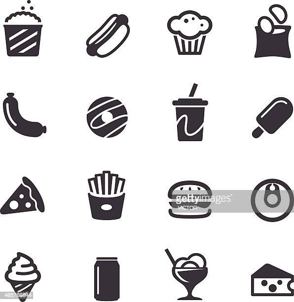 junk food icons - acme series - hamburger stock illustrations, clip art, cartoons, & icons