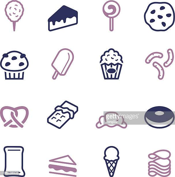 junk food icons - color series - toasted sandwich stock illustrations, clip art, cartoons, & icons