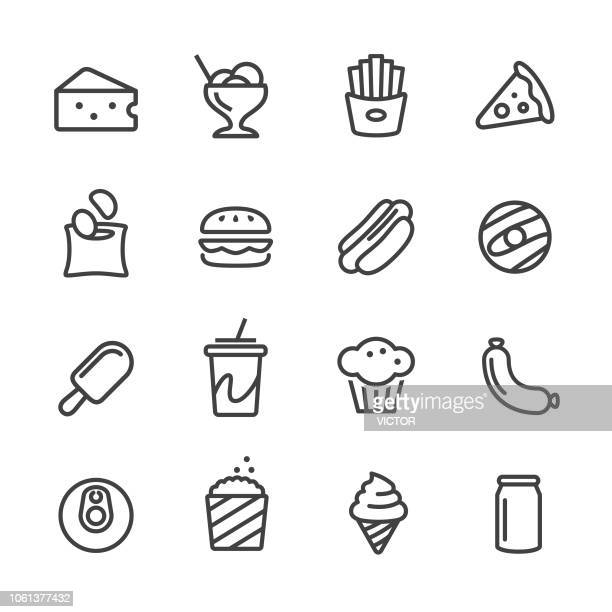 junk food icons - line series - can stock illustrations