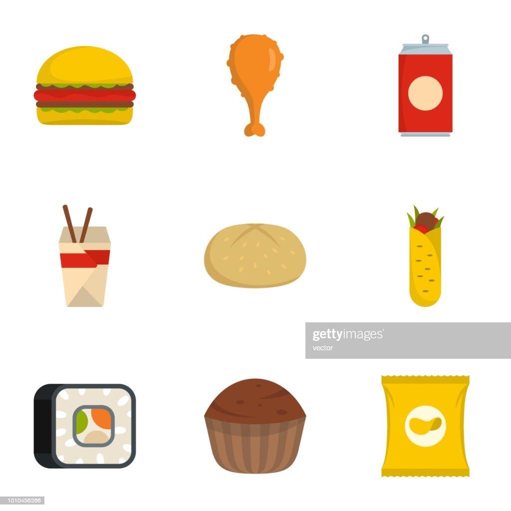 Junk food icons set, flat style