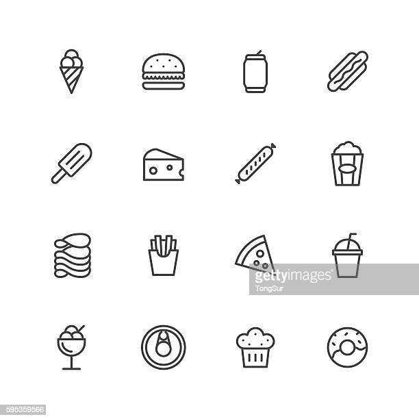 stockillustraties, clipart, cartoons en iconen met junk food icons - food and drink