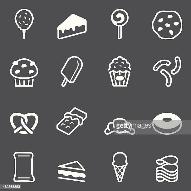 junk food icons - white series - toasted sandwich stock illustrations, clip art, cartoons, & icons