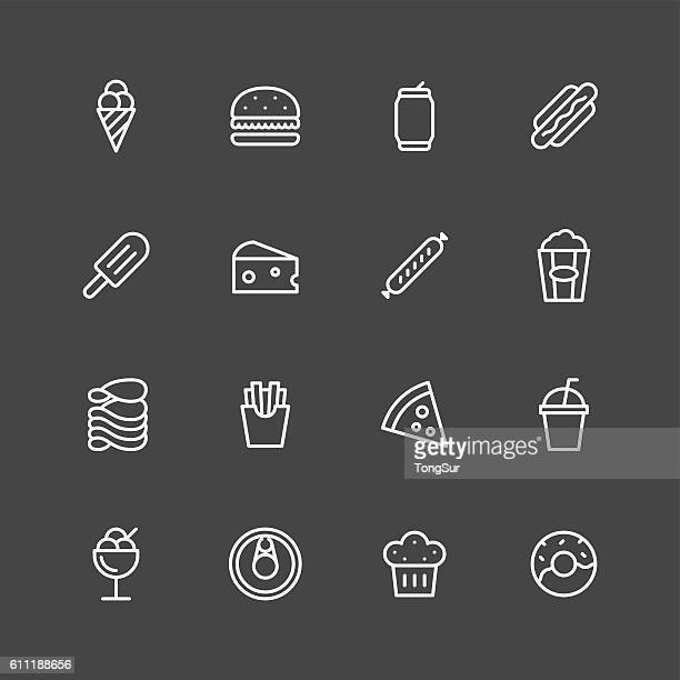 junk food icons - white series - donut stock illustrations, clip art, cartoons, & icons