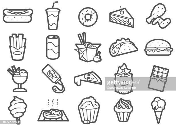 junk-food linie icons set - kaltes getränk stock-grafiken, -clipart, -cartoons und -symbole