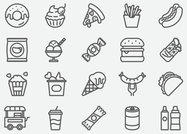 junk food line icons - frozen food stock illustrations