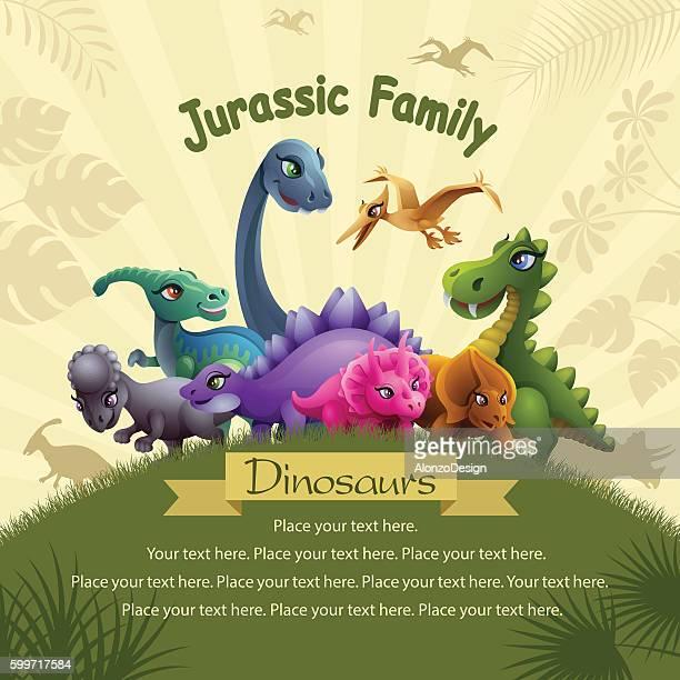 ilustraciones, imágenes clip art, dibujos animados e iconos de stock de jurassic family - libros volando